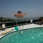Back flip at Val Kilmers house. Mikkel also has a flight certificate - Los Angeles 2005