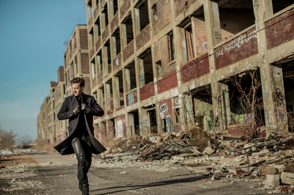 Esben Bjerre Hansen from Monte Carlo walks the walk like a true Euroman - The Packard Plant, Detroit 2014
